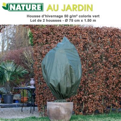 Voile d'hivernage 50 g/m2 coloris vert Dia 75 cm x 1.5 m - 2 pces