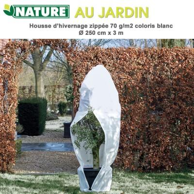 Voile d'hivernage zippée 70 g/m2 blanc Dia 250 cm x 3 m