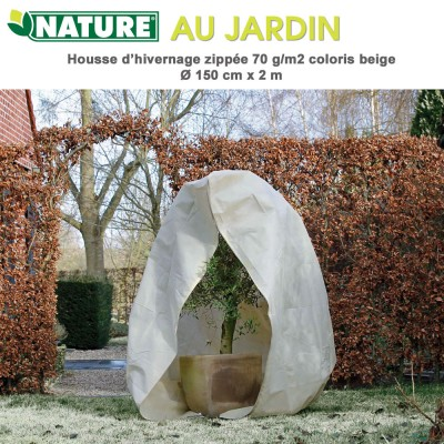 Voile d'hivernage zippée 70 g/m2 beige Dia 150 cm x 2 m