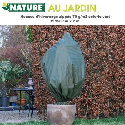 Voile d'hivernage zippée 70 g/m2 vert Dia 150 cm x 2 m