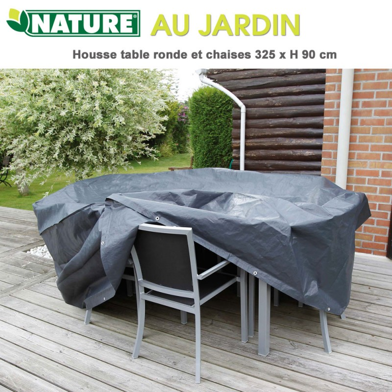 Housse de protection table ronde 325 x H 90 cm 6030601 Nature