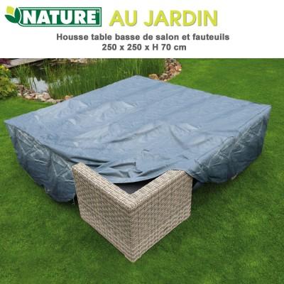 Housse de protection salon de jardin 250 x 250 cm x H 70 cm