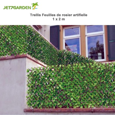 Treillis feuille de rosier artificielle 1 x 2 m