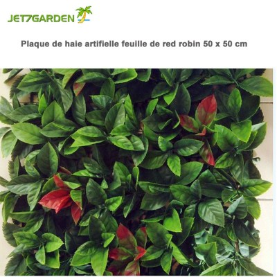 Haie artificielle feuille red robin en plaque 1m²