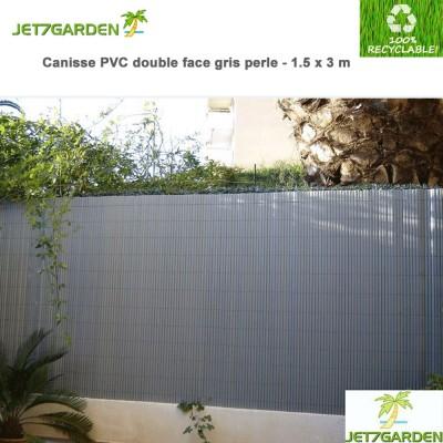 Canisse PVC gris perle double face 1.50 x 3 m