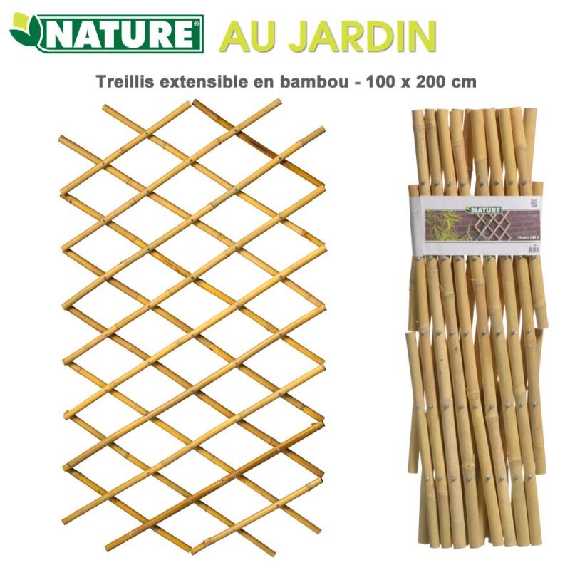Treillis en bambou à croisillons extensibles 100 x 200 cm 6040722 N...