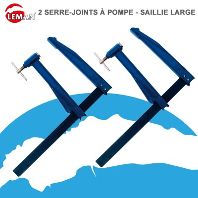 Serre-joints à pompe sailie large - Lot de 2