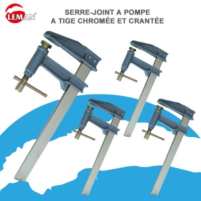 Serre-Joints à pompe tige chromée et crantée