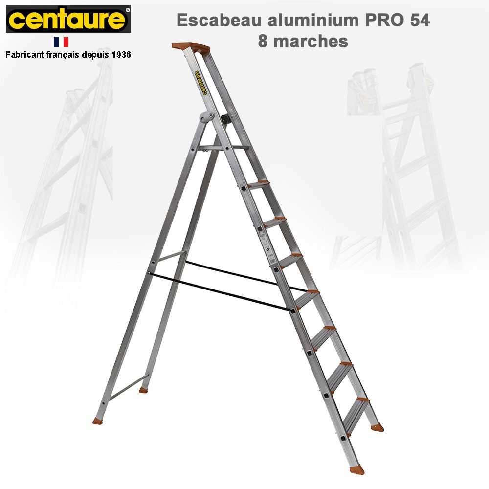 Escabeau aluminium pro 54 de 3 8 marches 107 74 - Escabeau 8 marches ...