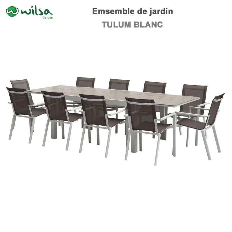 Table De Jardin 10 Personnes.Salon De Jardin Tulum 10 Places Blanc
