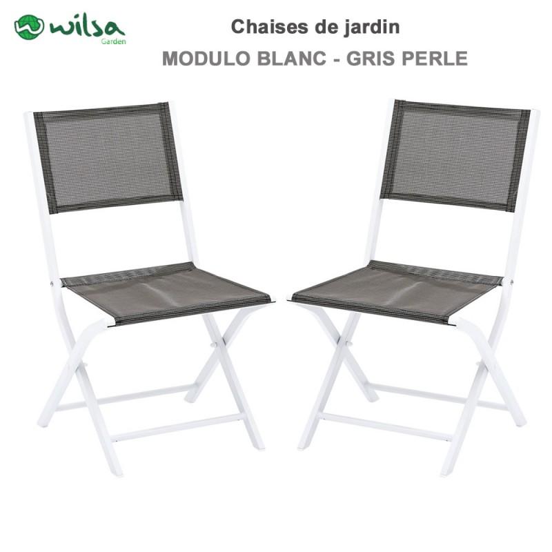 Chaises de jardin pliantes Modulo blanc/gris perle - Lot de 2