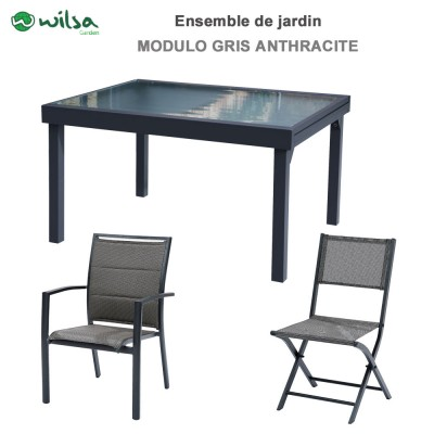 Salon de jardin Modulo 8/12 places gris anthracite