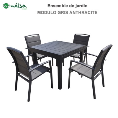 Salon de jardin Modulo 4 /8 places gris anthracite