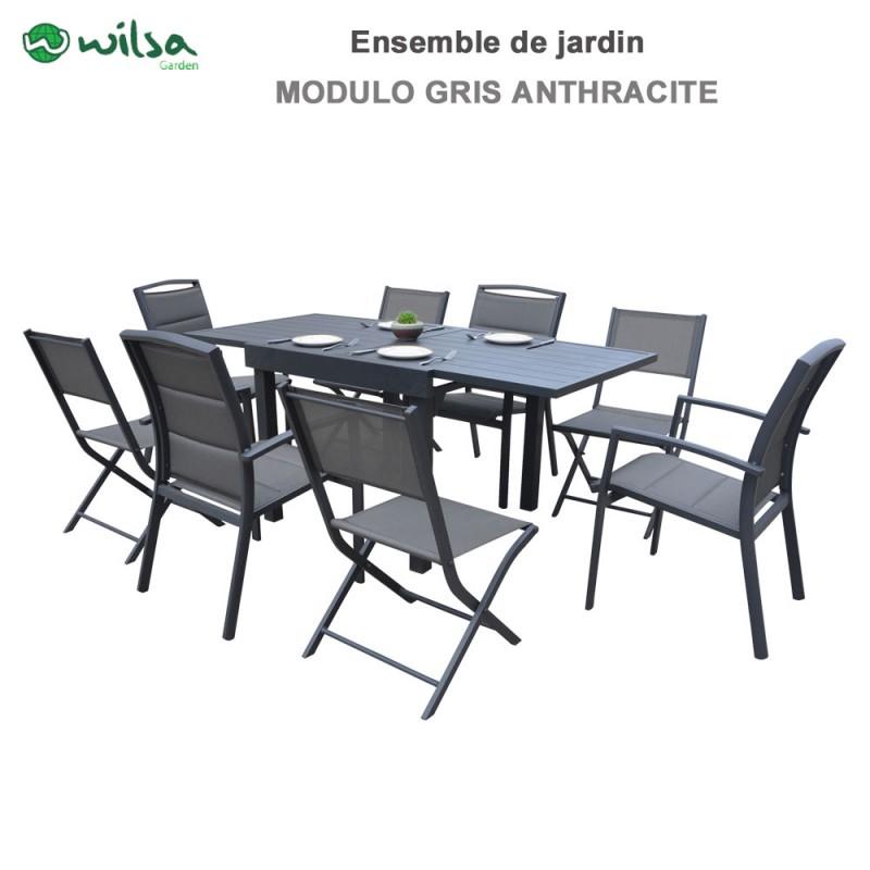 Salon de jardin Modulo 4 /8 places gris anthracite