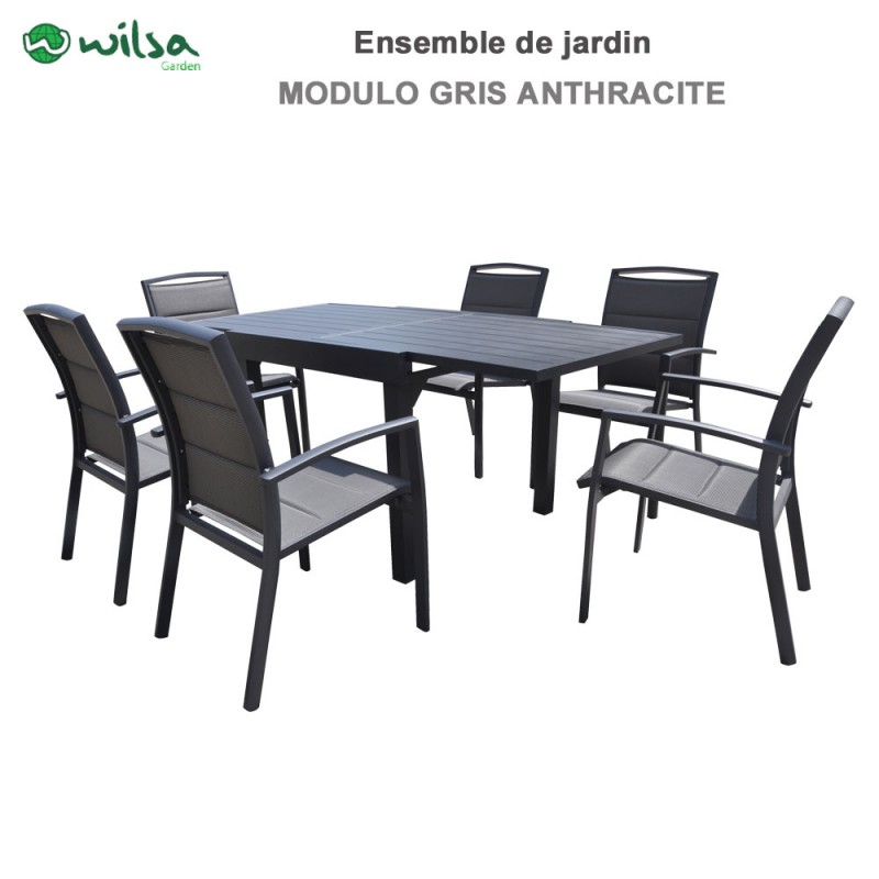 salon de jardin modulo 6 10 places gris anthracite. Black Bedroom Furniture Sets. Home Design Ideas