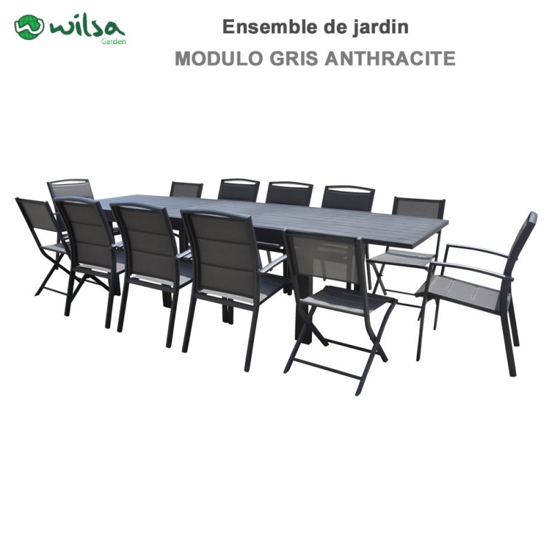 Salon de jardin Modulo 8/12 places gris anthracite