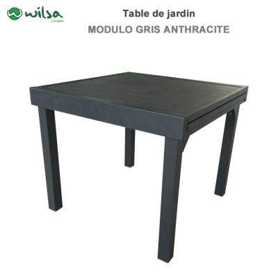 Table de jardin Modulo 4/8 places gris anthracite