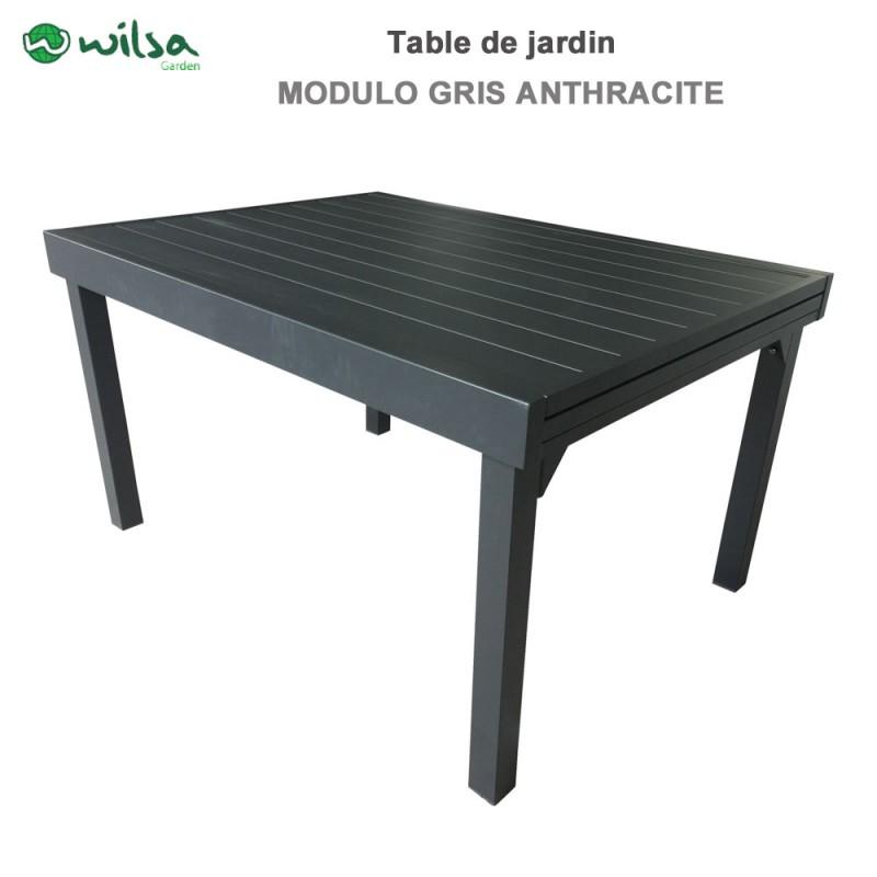 Table de jardin Modulo 6/10 places gris anthracite