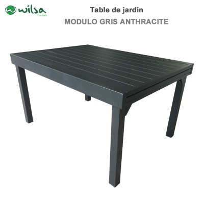 Table de jardin Modulo 6/10 places gris anthracite