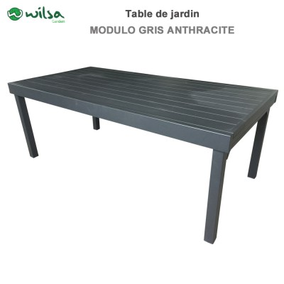 Table de jardin Modulo 8/12 places gris anthracite