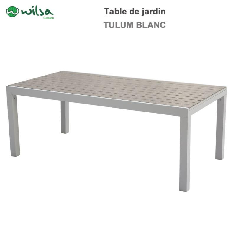 Table de jardin Tulum 8/12 places blanche