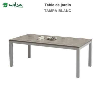 Table de jardin Tampa fixe 8 places blanc