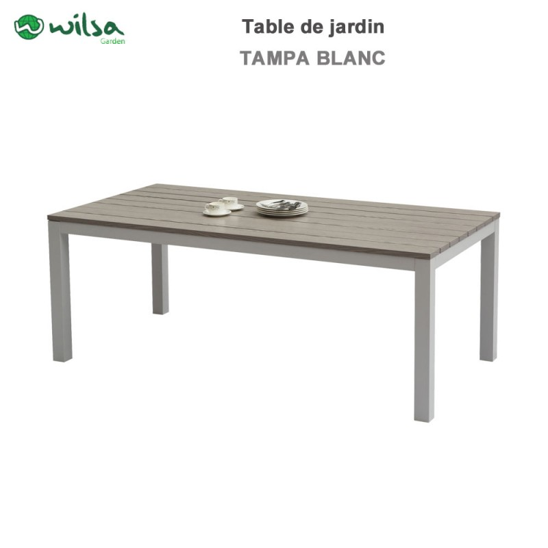 table de jardin tampa fixe 8 places blanc600465 wilsa garden. Black Bedroom Furniture Sets. Home Design Ideas