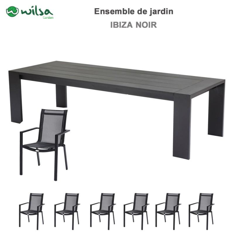 Salon de jardin Ibiza 8/10 places noir