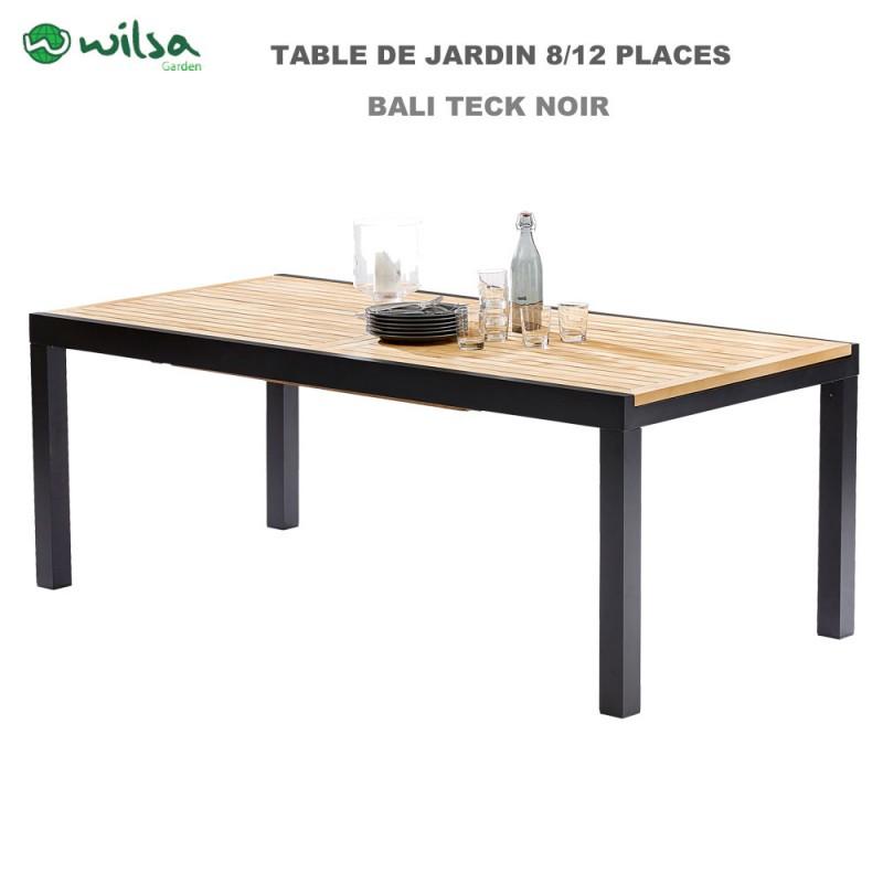 Table de jardin Bali Teck noir 8/12 places