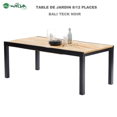 Table de jardin Bali Teck noir 6/10 places