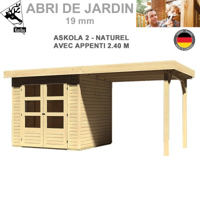 Abri de jardin Askola 2 naturel - 213x217 + extention 2.40 m