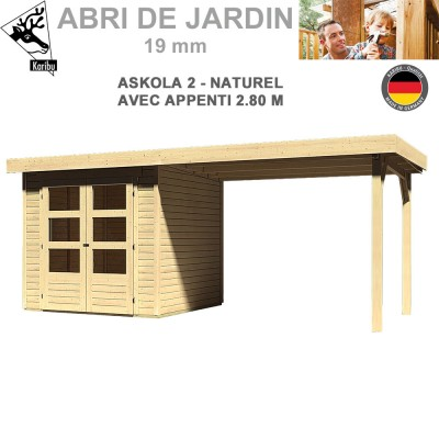 Abri de jardin Askola 2 naturel - 213x217 + extention 2.80 m