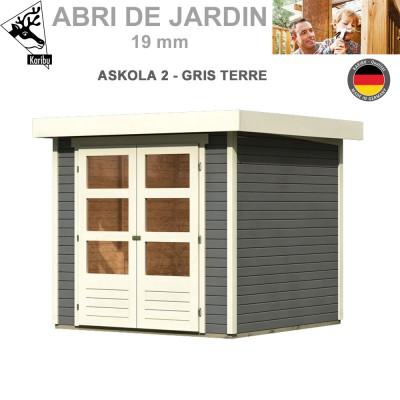 Abri de jardin bois Askola 2 gris terre - 213x217