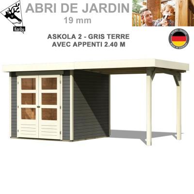 Abri de jardin Askola 2 gris tere - 213x217 + extention 2.40 m