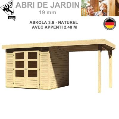 Abri de jardin bois Askola 3.5 naturel - 242x246 + extension 2.40
