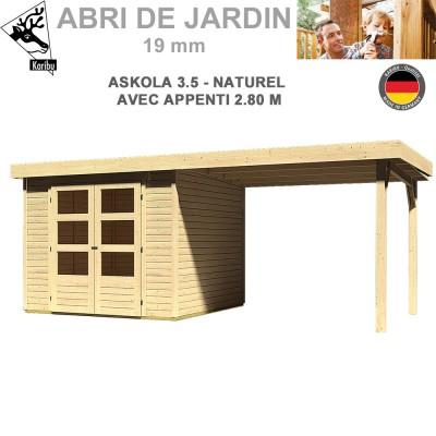 Abri de jardin bois Askola 3.5 naturel - 242x246 + extension 2.80