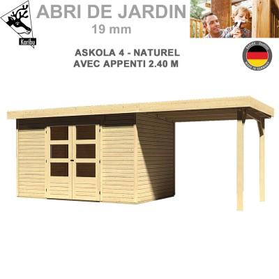 Abri de jardin bois Askola 4 naturel - 302x217 + extension 2.40