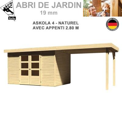 Abri de jardin bois Askola 4 naturel - 302x217 + extension 2.80