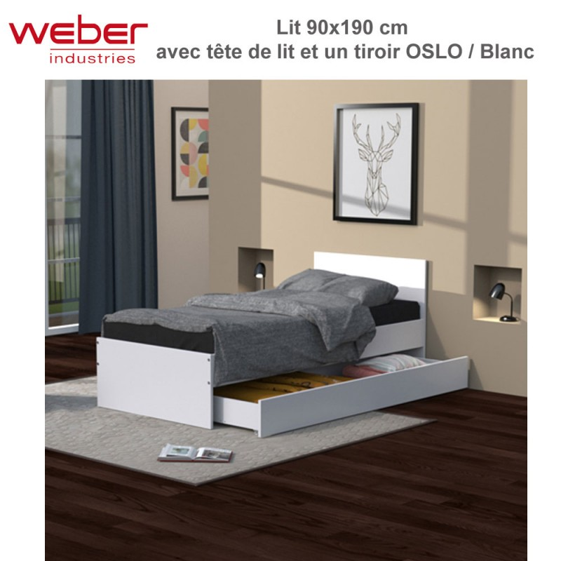 lit oslo 90x190 blanc tiroir t te de lit. Black Bedroom Furniture Sets. Home Design Ideas