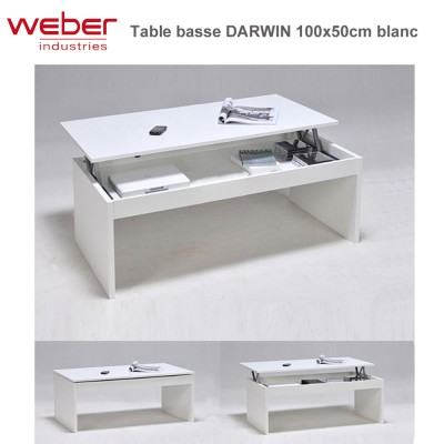 Table basse Darwin 100 x 50 cm blanche