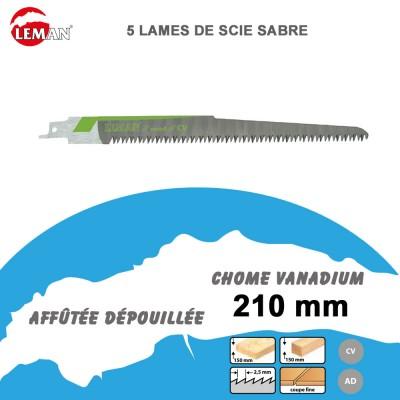 Lames de scie sabre - menuiserie - 210 mm - 5 Pièces