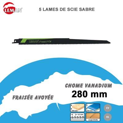 Lames de scie sabre - bois et PVC- 280 mm - 5pcs
