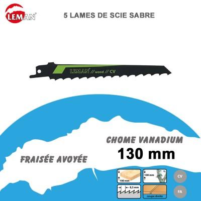 Lames de scie sabre - bois vert -130 mm - 5 Pièces