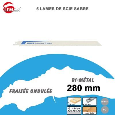 Lames de scie sabre bi-métal - 280 mm - 5 Pièces