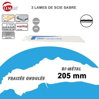 Lames de scie sabre bi-métal - 205 mm - 3 Pièces