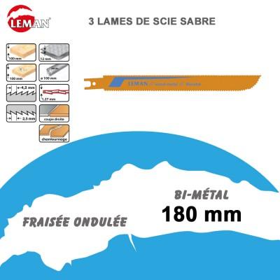 Lames de scie sabre bi-métal - 180 mm - 3 Pièces