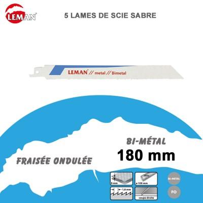 Lames de scie sabre bi-métal - 180 mm - 5 Pièces