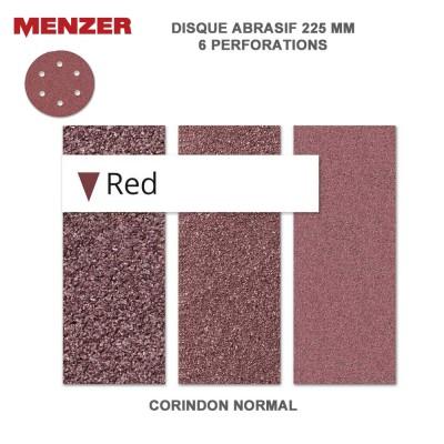 Disque abrasif  225 mm-6 trous-Red 2 - 5 - 10 ou 25 pièces