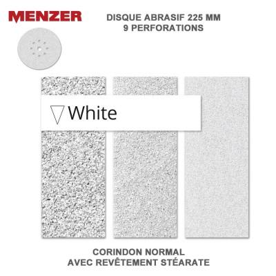Disque abrasif  225 mm-9 Trous-White 5 ou 25 pièces