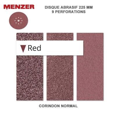 Disque abrasif  225 mm-9 trous-Red 5 ou 25 pièces